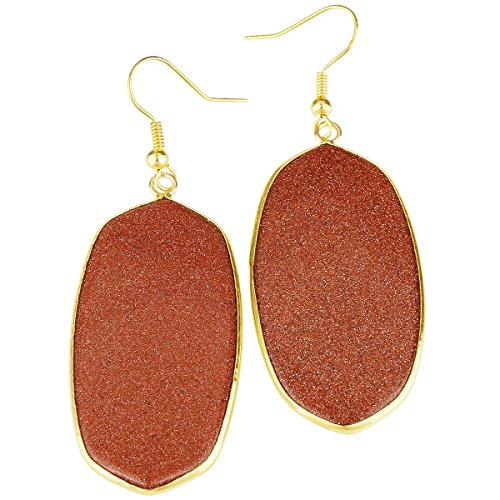 - rockcloud Gold Sand Stone Dangle Hook Earrings Oval Gold Plated