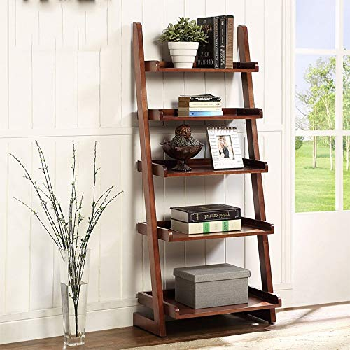 YUEQISONG Bookshelf Ladder Bookcase 5-Tire Wood Leaning Shelf for Family Home Office Modern Flower Book Display Shelf Storage Rack Stable A-Frame Wooden Ladder Shelf, Walnut ()