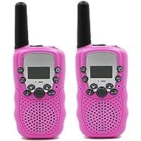 Topways Kids Walkie Talkie Two Ways Radio Toy Walkie Talkie for Kids 2 Miles Range 3 Channels Built in Flash Light FRS GMRS Handheld Mini Walkie Talkie for Outdoor Adventures Camping Hiking (Pink)