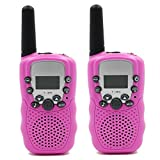 Topways Kids Walkie Talkie Two Ways Radio Toy Walkie Talkie for Kids 2 Miles Range 3 Channels Built in Flash Light FRS GMRS Handheld Mini Walkie Talkie for Outdoor Adventures Camping Hiking (Pink)