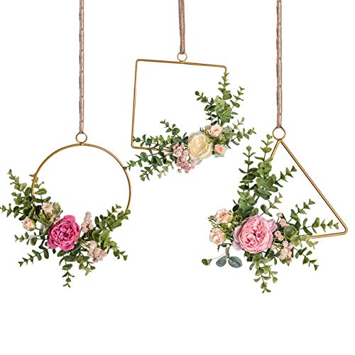 - Pauwer Floral Hoop Wreath Set of 3 Handcrafted Artificial Rose Flower and Eucalyptus Greenery Leaves Metal Hanging Hoop Wreath for Wedding Backdrop Nursery Decor