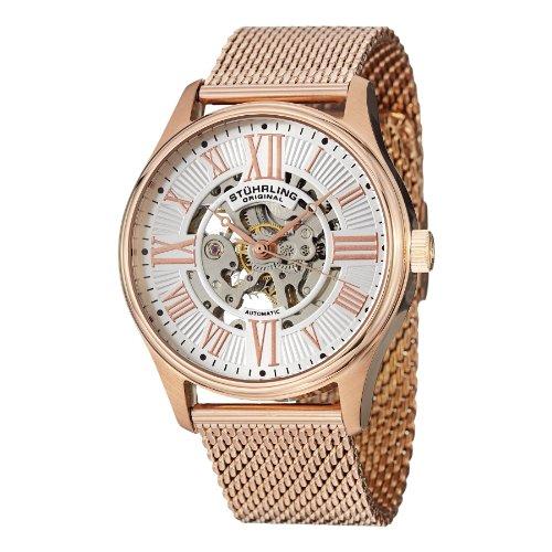 Mens Elite Bracelet Watch - Stuhrling Original Men's 747M.05 Classic Atrium Elite 16k Rose Gold-Layered Watch with Mesh Bracelet
