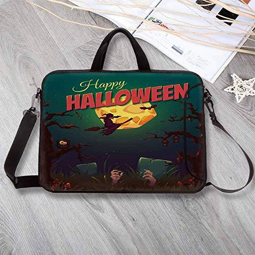 (Halloween Anti-Seismic Neoprene Laptop Bag,Happy Halloween Poster Design Witch on Broom Mushroom Dead Resurgence Vintage Decorative Laptop Bag for Travel Office School,8.7