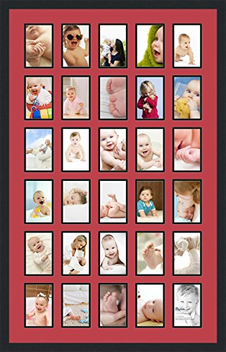 ArtToFrames Collage Photo Frame Double Mat with 30 - 4x6 Openings and Satin Black Frame (Frames Collage Christmas)