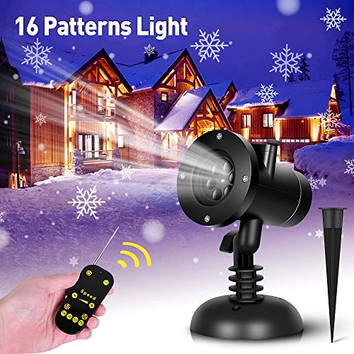 Christmas Snowflake Projector Lights - 16 Slides Decoration Projector Light Christmas Projector Lamp with Remote Control, Waterproof LED Projector Landscape Projector for Christmas Halloween Birthday
