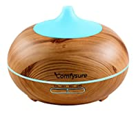 300ml Oil Diffuser for Essential Oil Aroma Therapy & Ultrasonic Cool Mist Air Humidifier - Filter Free: Best Personal Diffuser for Office, Home, Bedroom, Kids & Baby Room and Yoga Spa- Wood