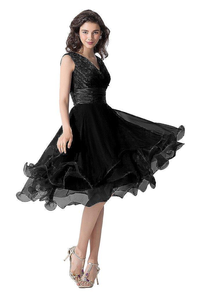 Victory Bridal Einfach Tief V Ausschnitt Abendkleider Ballkleider Brautjungfernkleider Kurzes Chiffon