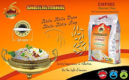 SHRILALMAHAL Empire Basmati Rice (Most Premium) (1 Kg) 2021 July Extra long grain, Premium basmati rice and More than 2 years aged Minimal sugar, fat and cholestrol! Exclusively treated and processed