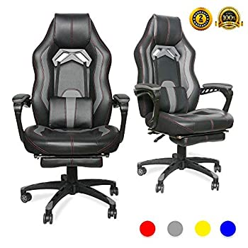 Image of LUCKWIND Video Gaming Chair Racing Recliner - Ergonomic Adjustable Padded Armrest Swivel High Back Footrest with Headrest Lumbar Support Leather Breathable Bucket Seat Home Office Desk(Black & Grey) Home and Kitchen