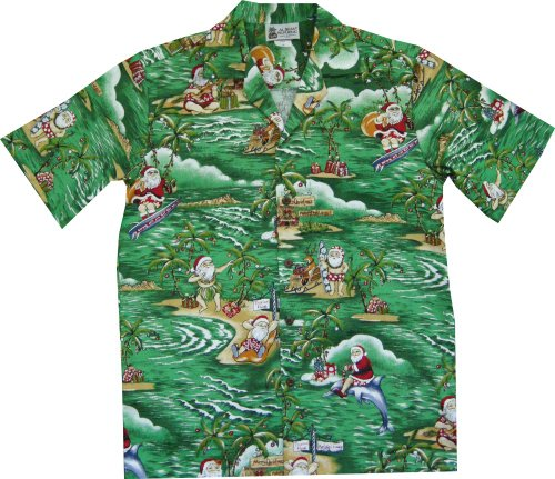 Green Christmas Hawaiian Shirt With Santa Surfing