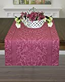 Jacquard Woven, 100% Two-ply Twisted Linen Cotton Table Runner 18 x 90-inch Chateau-Rose | Made in Europe