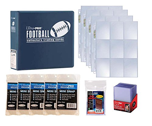 (Ultra Pro Football Card Collector Starter Kit – Blue Album, 9 Pocket Pages, Sleeves, Top Loaders & Mini Snap Holders)