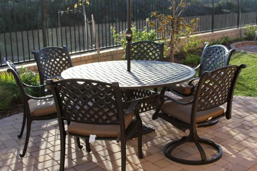 Heritage Outdoor Living Cast Aluminum Nassau 7pc set with 60 round table2- Antique Bronze - Tropitone Round Dining Table