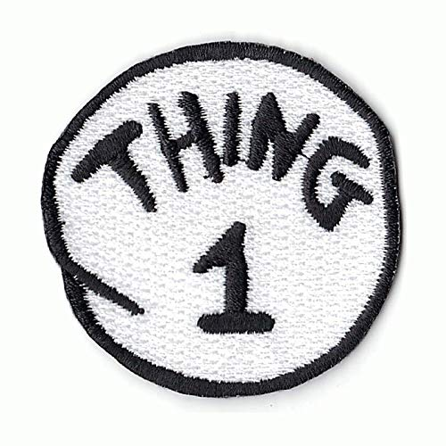 Thing 1 DIY Iron On Embroidered Applique Patch]()
