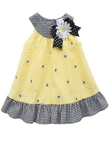 Rare Editions Girls Seersucker Bumble Bee Easter Dress , Yellow, ()