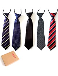 ff8dbc486616 Pre-Tied Elastic Neck Strap Tie Little Boys Necktie Value Set of 5 (Set