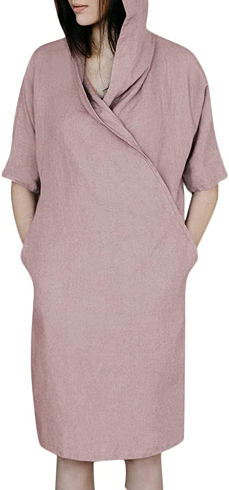 Frauenkleid V-Ausschnitt kurz Hemdkleid S ~ 2XL Baumwollleinen Bandage Bequem