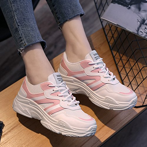 CYBLING Womens Student Athletic Sport Shoes For Running Outdoor Exercise Breathable Comfort Sneaker Pink AANu6