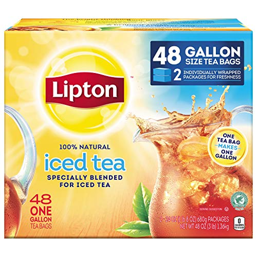 Lipton Gallon-Sized Black Iced Tea Bags, Unsweetened, 48 ()