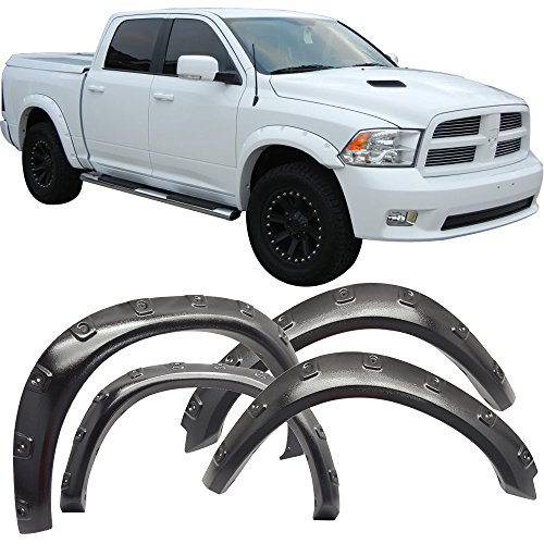 Fender Flare Fits 2009-2018 Dodge Ram 1500 | Pocket Style ABS Sanded Texture Wheel Protector Protection Guards Cover by IKONMOTORSPORTS | 2010 2011 2012 2013 2014 2015 2016