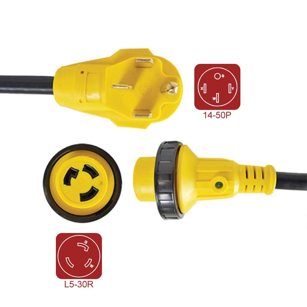 Superior Electric RVA1582 RV Pigtail Adapters 50 Amp Male NEMA 14-50P to 30 Amp Female NEMA L5-30R, Length 18-Inch 10AWG/3 Cord by Superior Electric (Image #1)