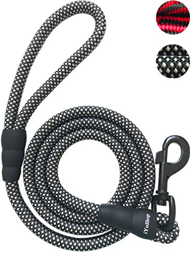 iYoShop Heavy Duty Dog Leashes for Medium Large Dogs - 1/2 Inch Thick 5 FT Long - Extra Thick - Strong and Durable Braided Nylon Rope Lead (1/2 X 5', Black/White)