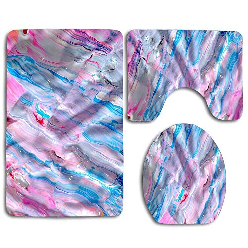 YGUII Bright Tie Dye Pigment (2) Bathroom Rug Mats Set 3 Piece Toilet Carpet Rugs Includes Contour Mat and Lid Cover, Non Slip Mats for Tub Shower ()