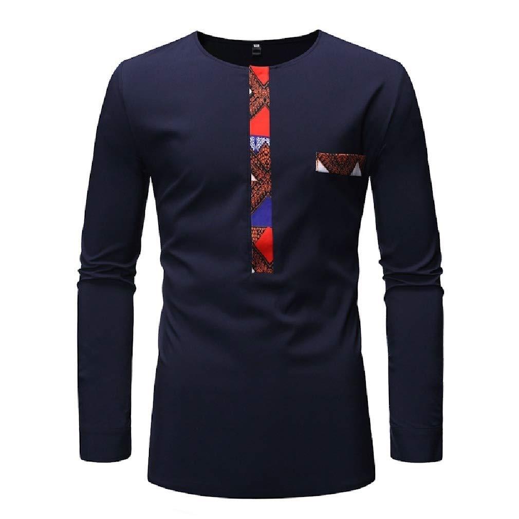 Zimaes-Men Plus Size African Folk Style Flower Print Shirts T-Shirt