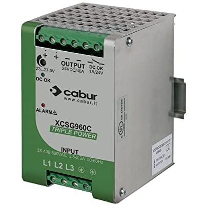 ASI XCSG960C 3-Phase DIN Rail Mount Power Supply, 24 VDC, 960W, 40 amp Output, 340 to 550 VAC Input