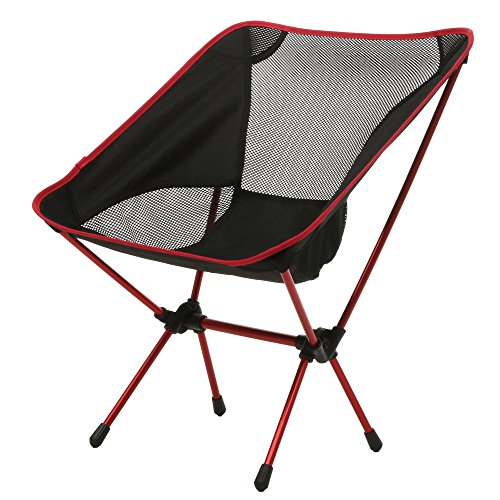 Portable Folding Camp Chair Outdoor Fishing Garden Breathable Chair with Mesh (Red, Small)