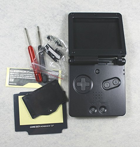 Full Housing Cover Case - Gametown® Full Housing Shell Pack Case Cover for GBA SP Gameboy Advance SP Black