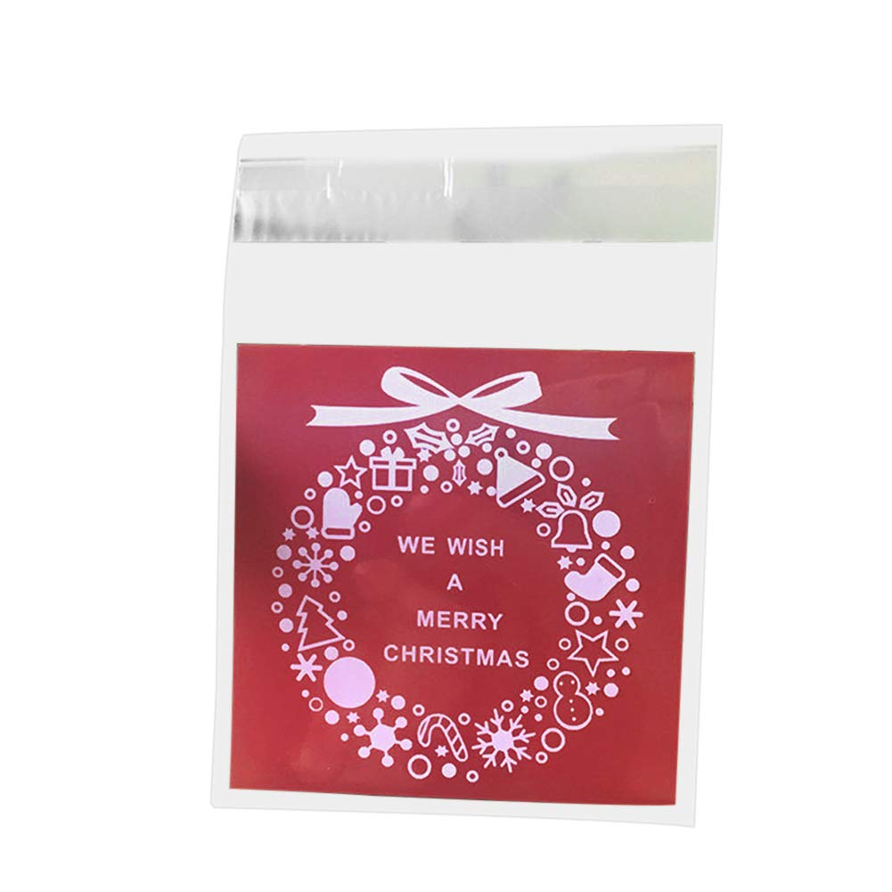 super1798 100Pcs Christmas Garland Wreath Plastic Gift Bags Cookies Candy Packaging Pouch Red by super1798 (Image #1)