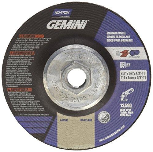 Norton Abrasive Wheels (Norton Gemini Depressed Center Abrasive Wheel, Type 27, Aluminum Oxide, 5/8