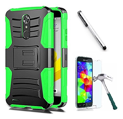 Belt Clip Faceplate Blue (Luckiefind Compatible with Samsung Galaxy J3 (2018) J337/Galaxy AMP Prime 3/Galaxy J3 Achieve/Galaxy J3 Star. Hybrid Side Kickstand Cover Case With Holster Clip (Holster Green))