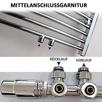 Mittelanschlussgarnitur mit Thermostat f/ür Heizk/örper Farbe w/ählbar Farbe:Chrom