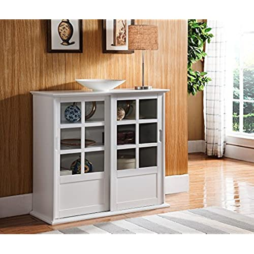 Bon Kings Brand Furniture Wood Curio Cabinet With Glass Sliding Doors, White