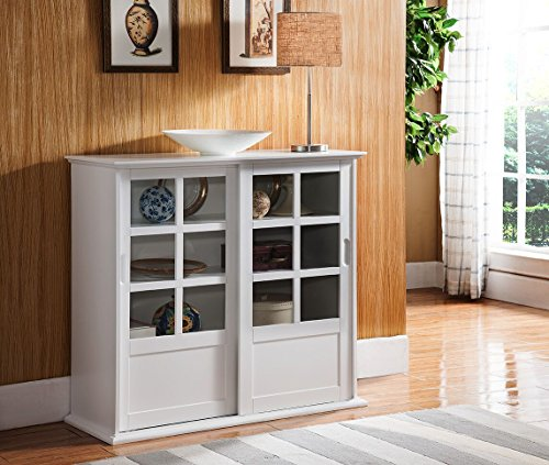 Kings Brand Furniture Wood Curio Cabinet with Glass Sliding Doors, White (Bookcase With Sliding Glass Doors)