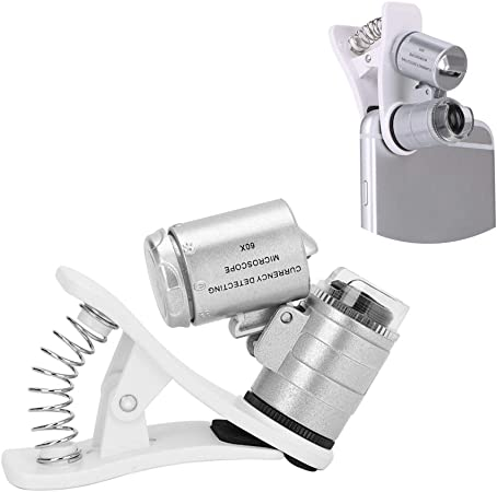 ZGQA-GQA 60X Mobile Phone Microscope Magnifier Universal LED Instrument Macro Lens Optical Zoom with Micro Camera Clip Optical Instrument