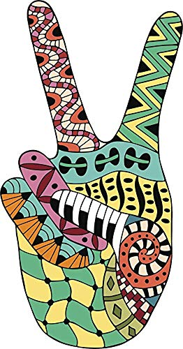 - Cool Colorful Tribal Hippie Pattern Peace Sign Hand (12