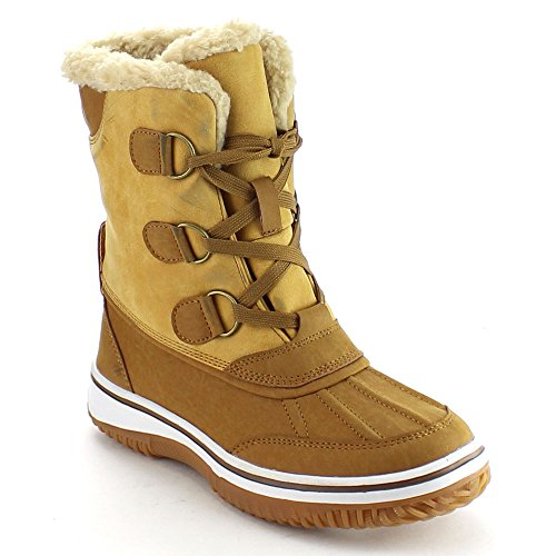 NATURE BREEZE FROST-04 Women Stitching Lace Up Faux Fur Winter Snow Ankle Boots, Color:TAN, (D-ring Lace Up Ankle Boot)