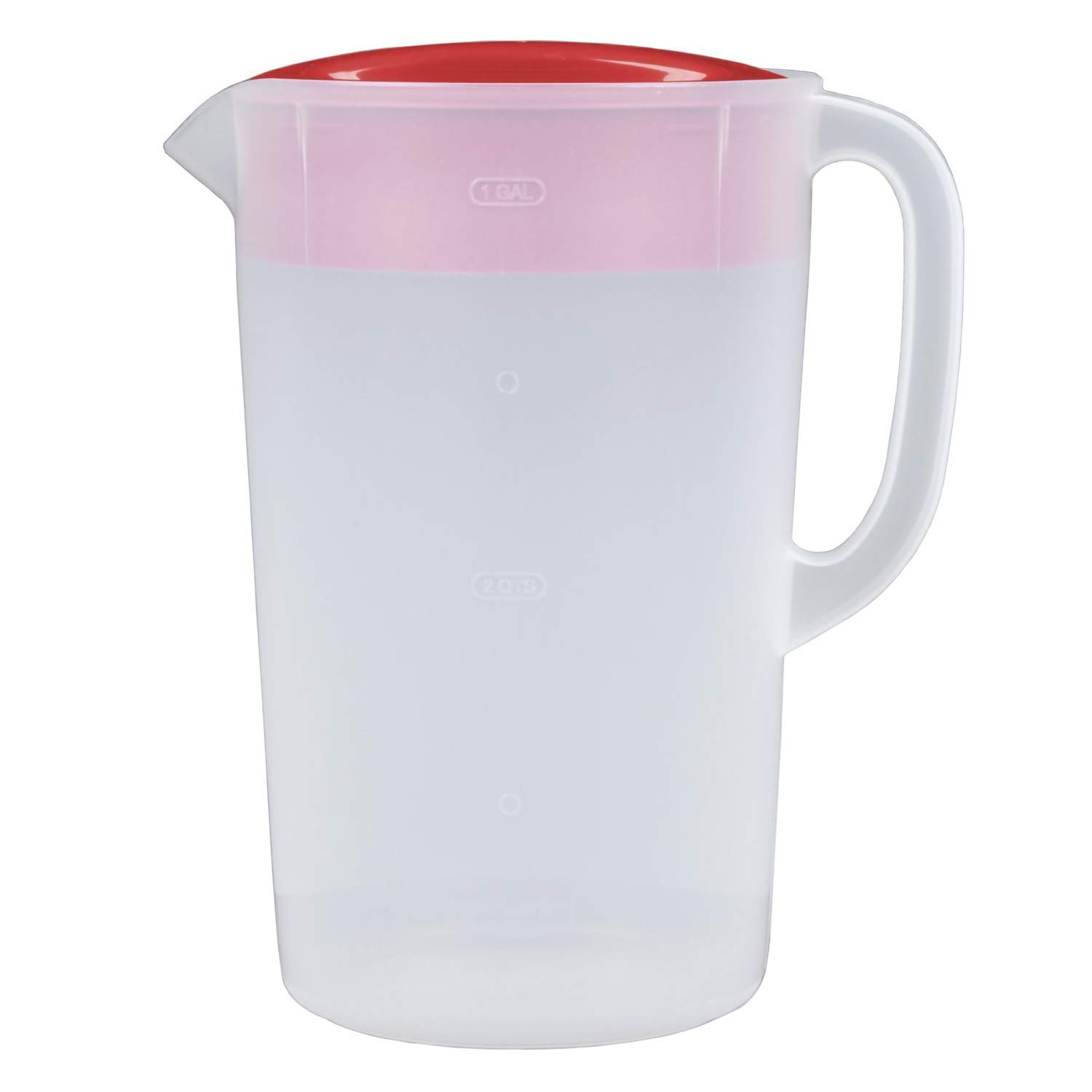Rubbermaid 1 Gallon Classic Pitcher, Pack of 2 Red/Clear Pitchers