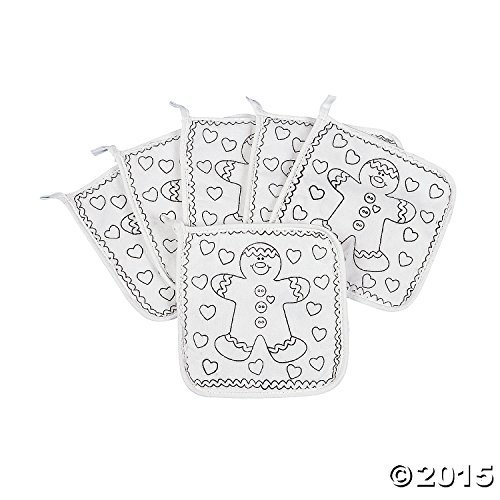 (12) Christmas HOLIDAYS Color your Own Pot Holders ~ One Dozen Adorable Gingerbread Person ~ Parties Schol Sunday Church Fairs Teacher ~ Arts and Crafts Children ~ Stocking Stuffer ~ Baking Cookies (Canvas Pot Holders compare prices)