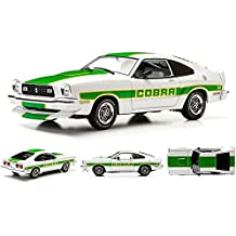 1978 Ford Mustang II Cobra II White with Green Billboard Stripes 1/18 by Greenlight 12895