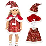 Choosebuy❤️ Xmas 18inch American Girl Christmas Print Clothes Outfits Set Dolls Accessory Gift (Princess Skirt + Shawl + Hat) (Red)