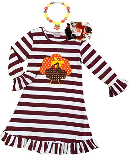 Boutique Clothing Girls Fall Thanksgiving Turkey Dress Outfit Set with Bow