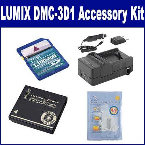 SDM-1508 Charger KSD2GB Memory Card Panasonic LUMIX DMC-3D1 Digital Camera Accessory Kit includes: SDDMWBCG10 Battery ZELCKSG Care /& Cleaning