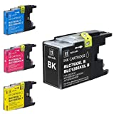 4-Pack Set Extra High Yield Ink Cartridges, BK / C / M / Y Compatible with Brother LC79