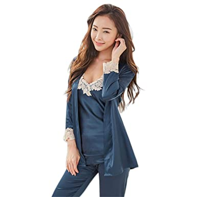 44e7abe818 JYHTG Korea Sexy Lace Satins Silk Pijama Women Pajamas Sets Spaghetti  Straps Satin Pyjamas Women 3