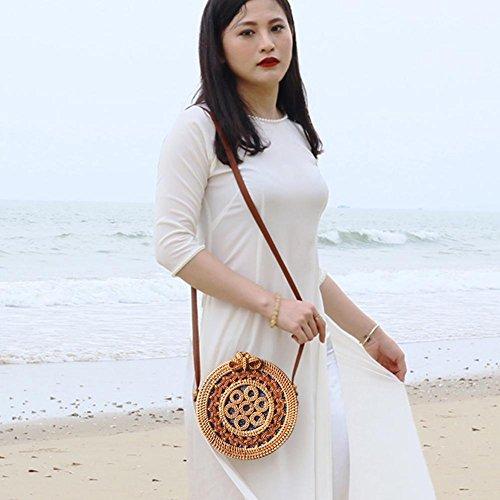Ideal Para Mujer Vacaciones Ratán Bolso Fiestas Playa Ir Bohemio Cruzado Viajes tejido Augproveshak Estilo Citas Verano Compras De BtzEww
