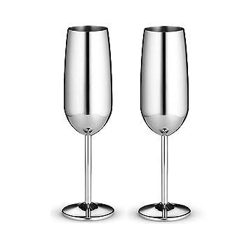 Copa de vino de 2 onzas, copas de champaña de acero ...